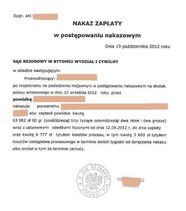 Nakaz zapłaty w postępowaniu upominawczym 2017, E-Sąd, Lublin VI Wydział Cywilny